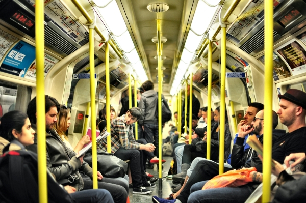 A busy tube carriage