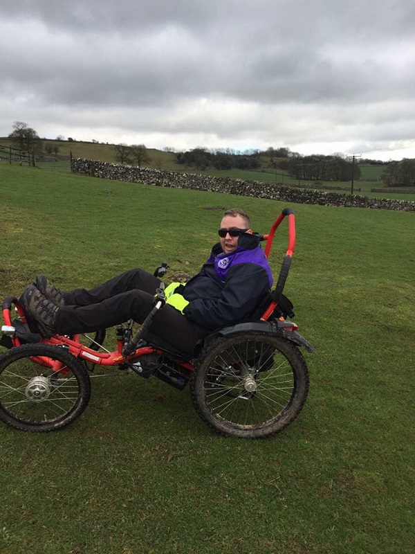 Man in wheelchair in outdoors