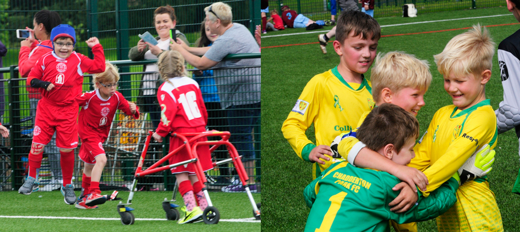 Two back-to-back photos. One of parents cheering on the young players, the one on the right shows a group of young boys cuddling each other