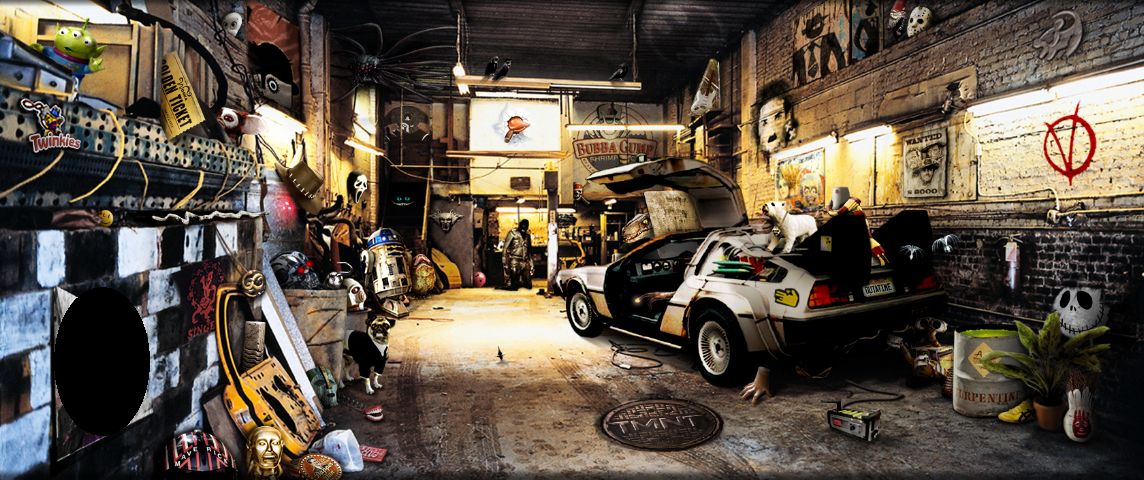 An artistic scene of a garage filled with film references including a DMC DeLorean