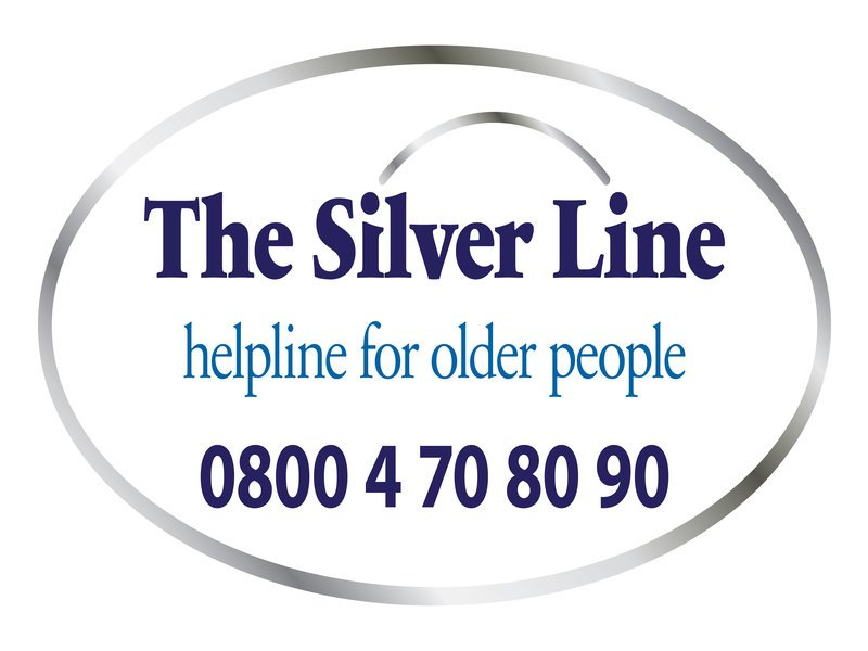text graphic reading the silver line helpline for older people 0800 4 70 80 90 surrounded by a silver oval