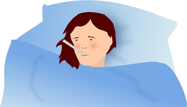 cartoon image of woman in bed with a thermometer in her mouth