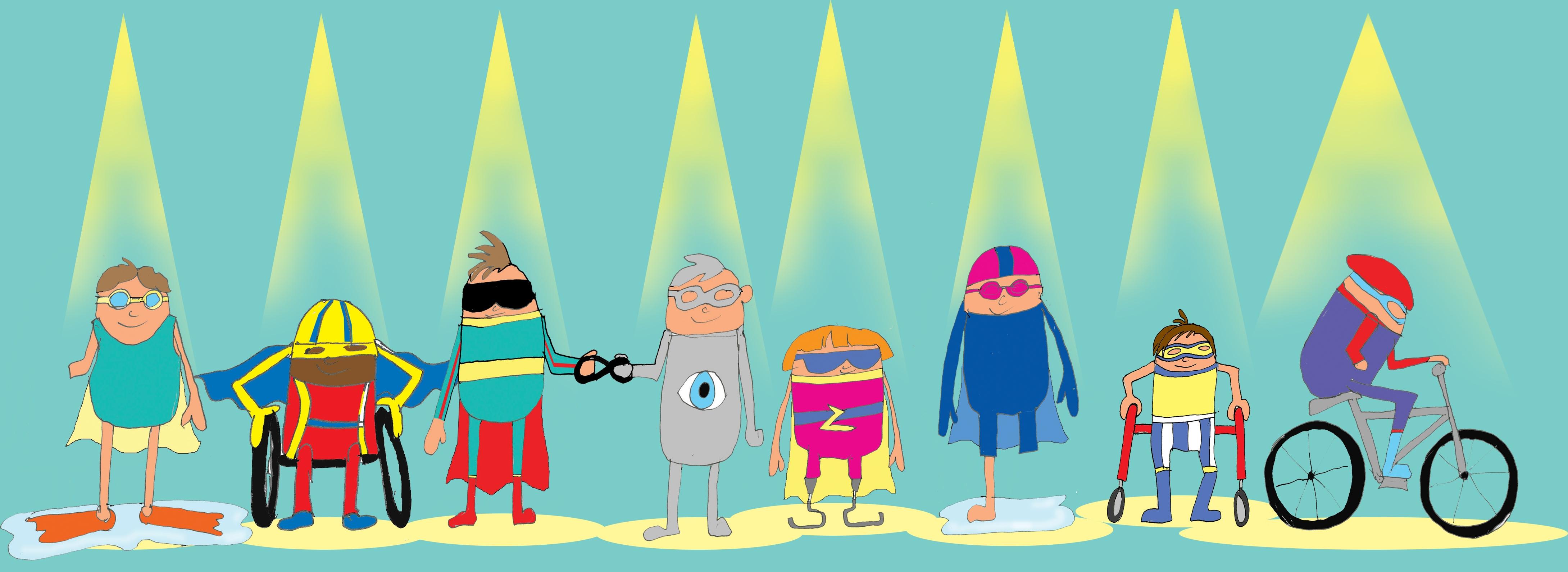 A row of cartoon athletes under a spotlight