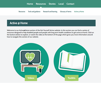 A screenshot of the Active  Home section of the Get Yourself Active website