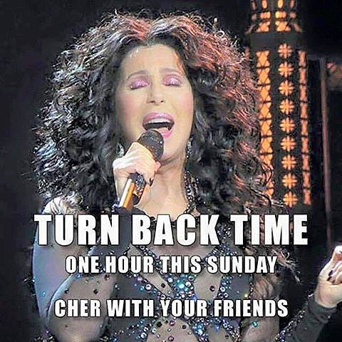 Singer Cher with the words turn back time one hour this sunday cher with your friends