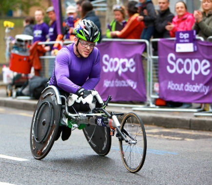 Disabled cyclist cycling in a race