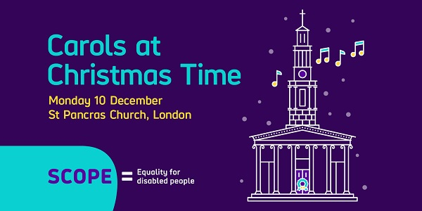the words carols at christmas time on a purple background with the scope logo and a line drawing of a church