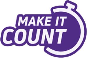Purple Make it Count logo with purple stopwatch design