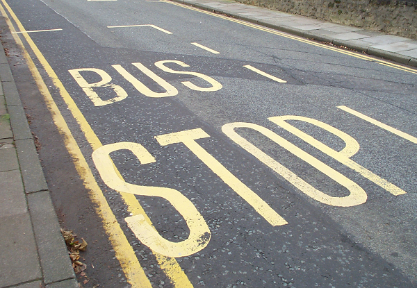 A bus stop's road markings