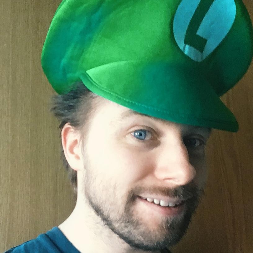 Adrian_Scope wearing a green Luigi hat