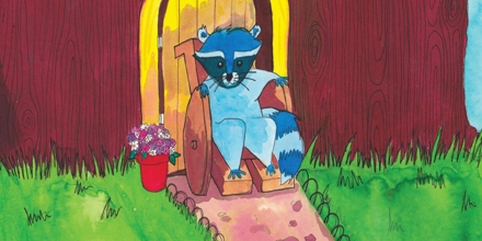 Picture of a blue cartoon raccoon in a wheelchair in front of a door