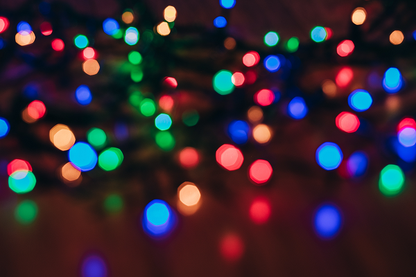 A photo of blurred Christmas lights