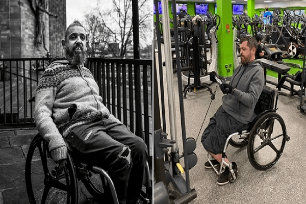 Two photos of Richard sat in his wheelchair one in an urban backdrop and the other whilst at the gym