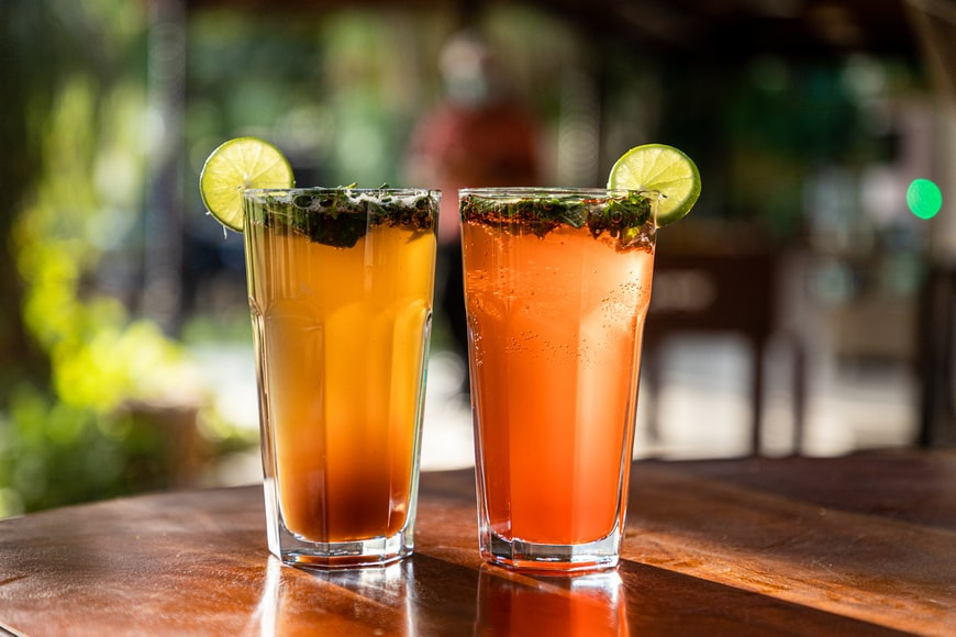 two drinks on a table