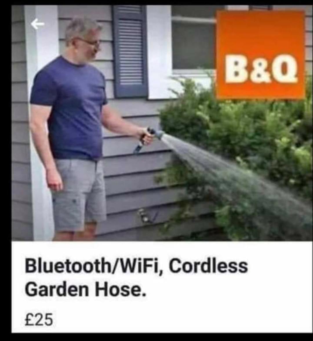 picture of a man using a cordless garden hose. Text reads: Bluetooth/Wifi, cordless garden hose