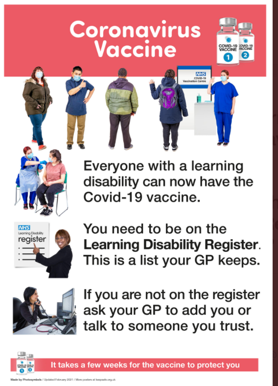 Poster saying everyone with a learning disability can have the covid vaccine now and should be on their GPs learning disability register to get it  Where people arent on the register but have learning disabilities they should speak with a GP or trusted person to get access