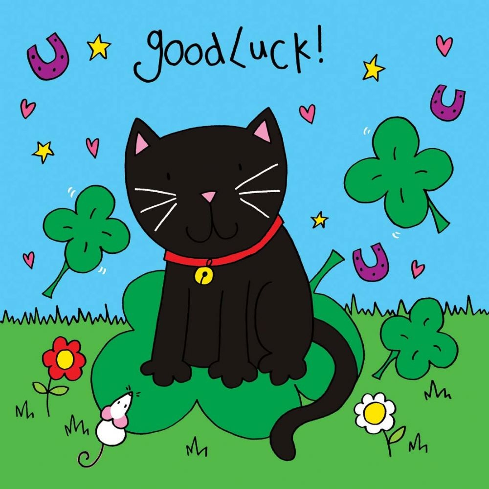 The cartoon shows a black cat with good luck written above it alongside horseshoes and four leaf clovers Wi