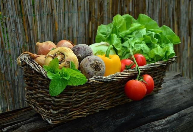 basket of vegetables including onions lettuce beetroot