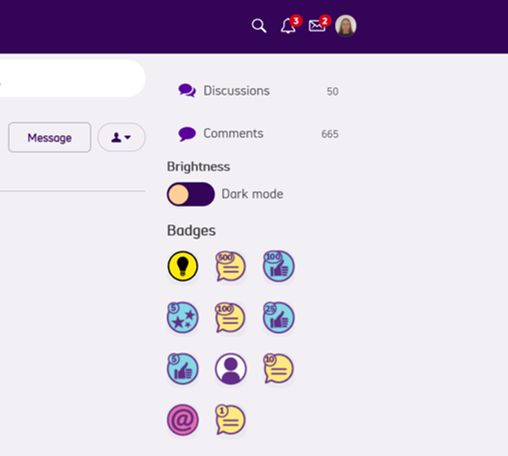 screenshot of badges on right hand side of the screen