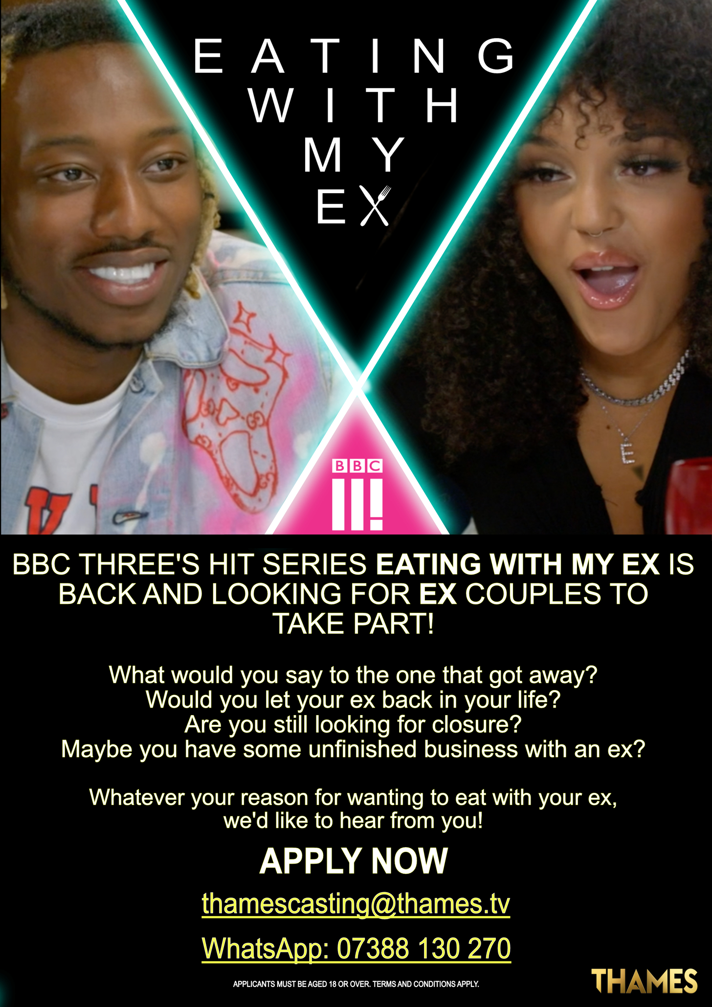 casting call for the BBC 3 show eating with my ex All of the information on the poster is listed above