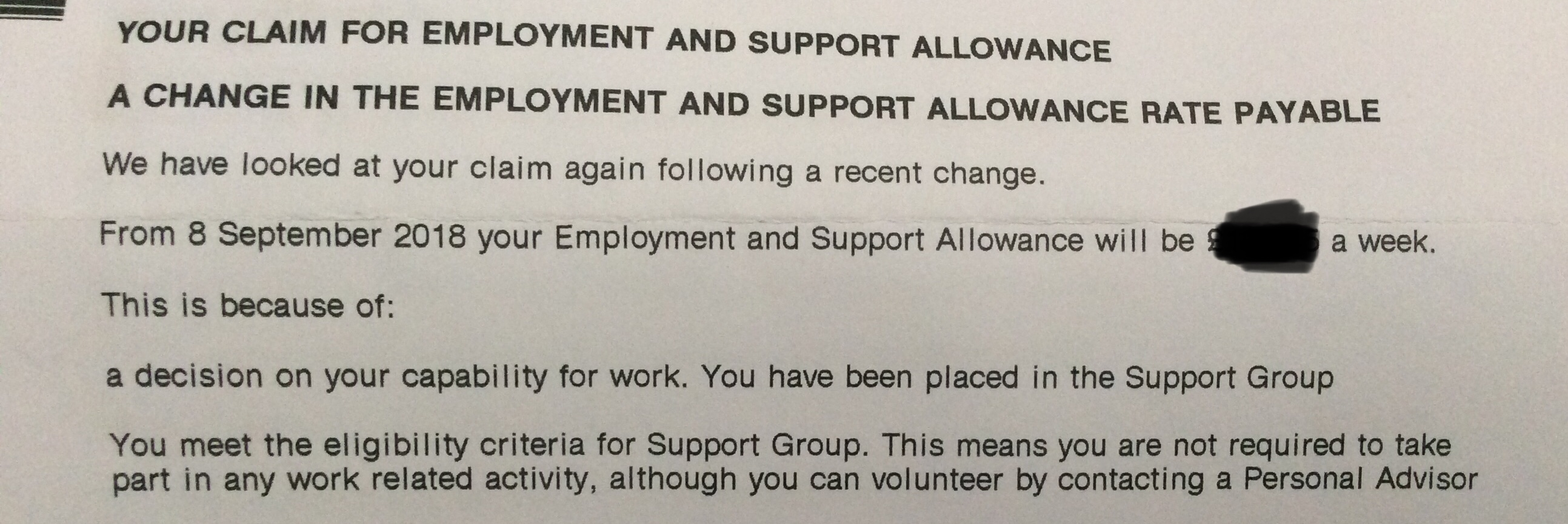 You meet the eligibility criteria for support group