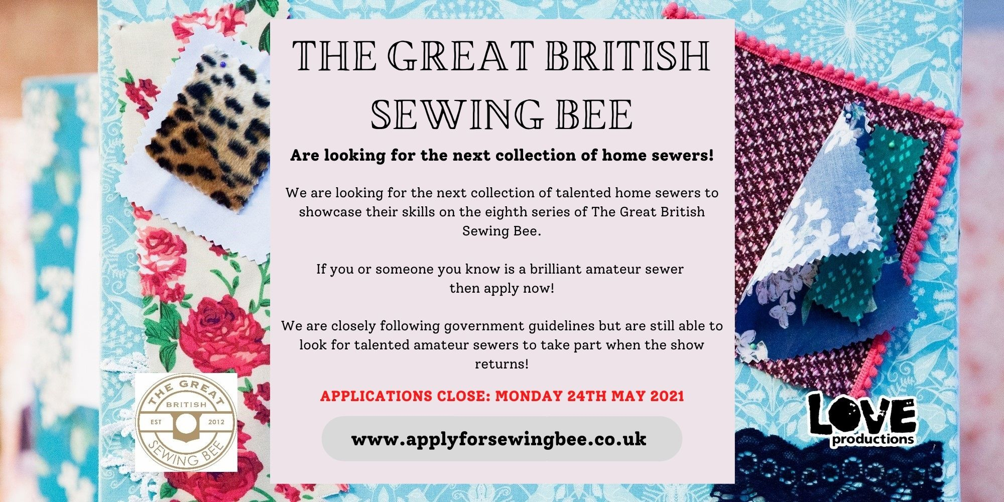 flyer for the great british sewing bee containing the same information as listed above