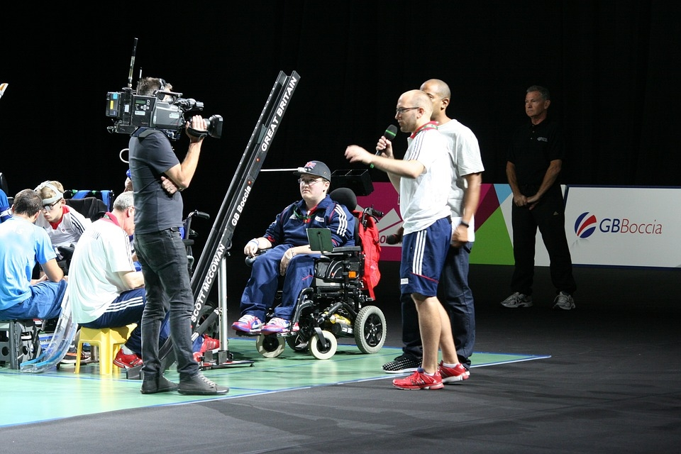 Image of TV crew filming at Paralympic Boccia event