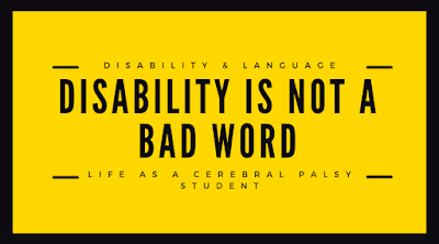 yellow poster that says disability is not a bad word