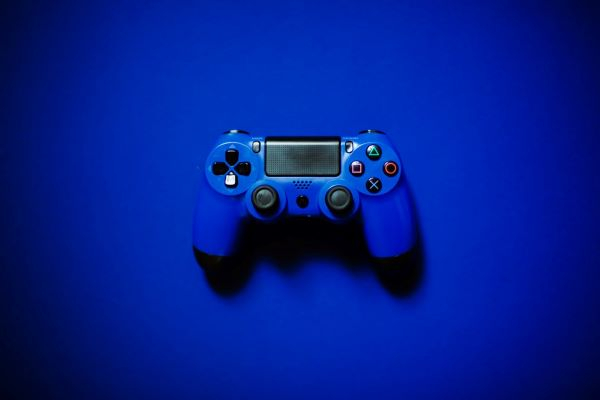 blue Sony PlayStation 4 controller
