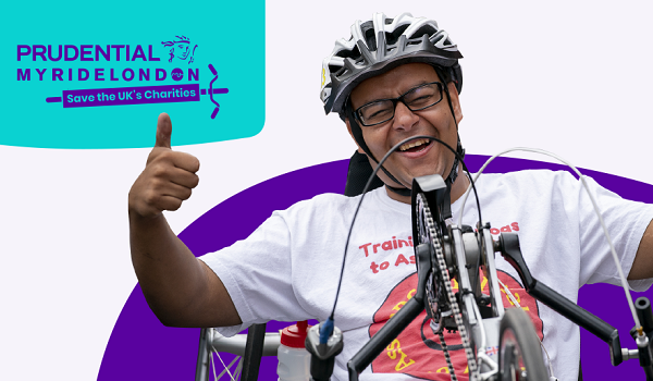 An image depicting a gentleman in a handcycle giving a thumbs up The words on the image say Prudential MyRideLondon Save the UKs charities