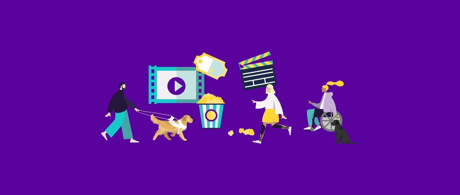 An illustration depicting a man led by a guide dog a piece of film with a play icon a cinema ticket a popcorn box a clapperboard a woman with prosthetics walking and a woman in a wheelchair with an assistance dog