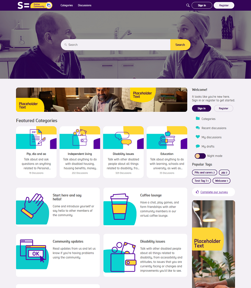 A screenshot of the re-themed online community homepage