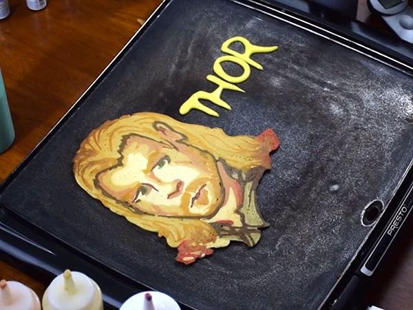 A pancake that looks like the Marvel Comics character Thor.