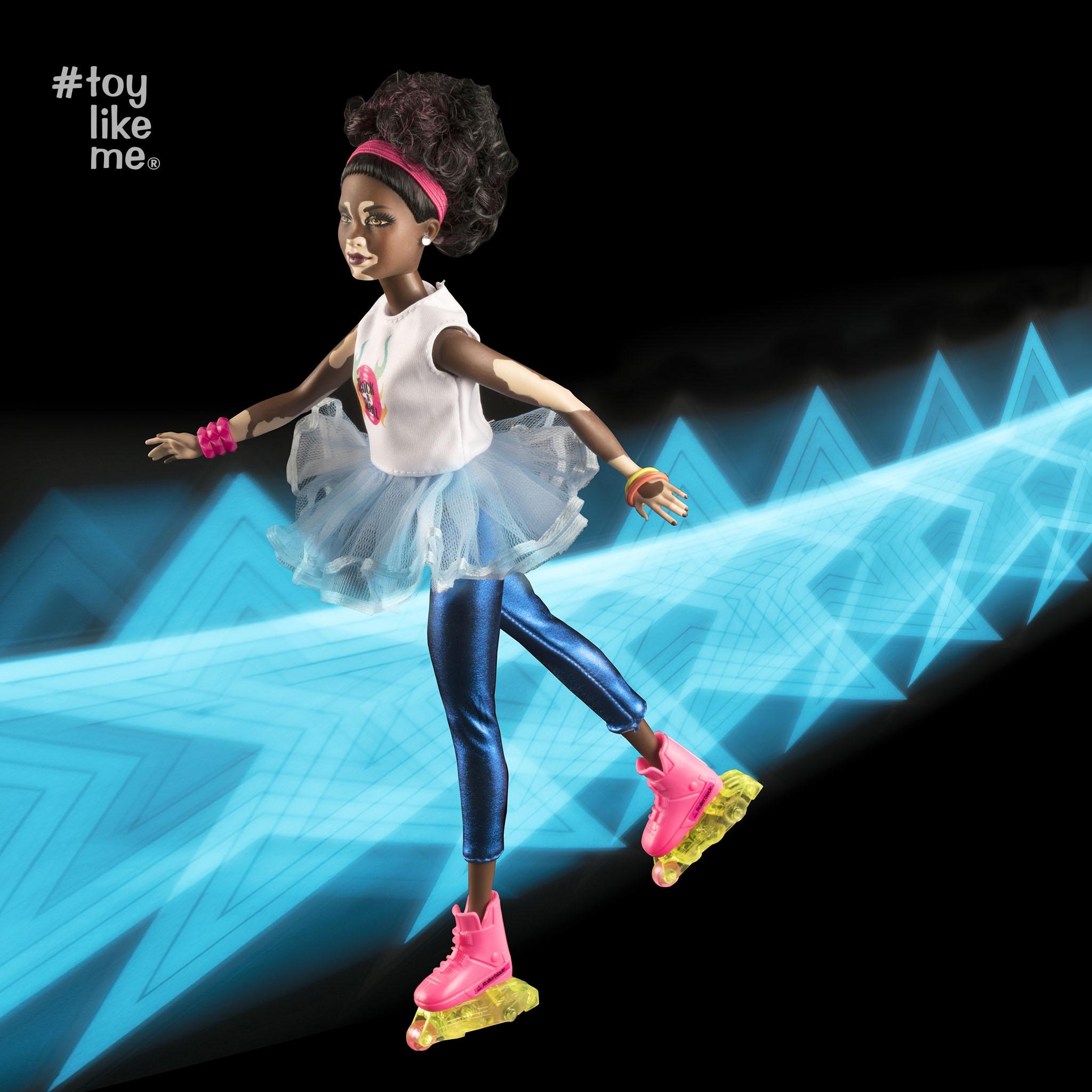 Doll with vitiligo on roller-skates