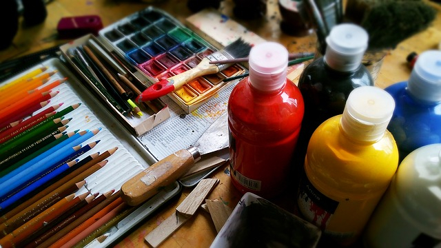 paints brushes and art equipment