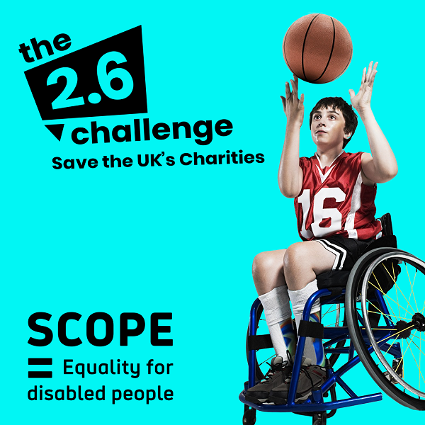 A 2.6 Challenge image of a boy playing wheelchair basketball along with the Scope logo