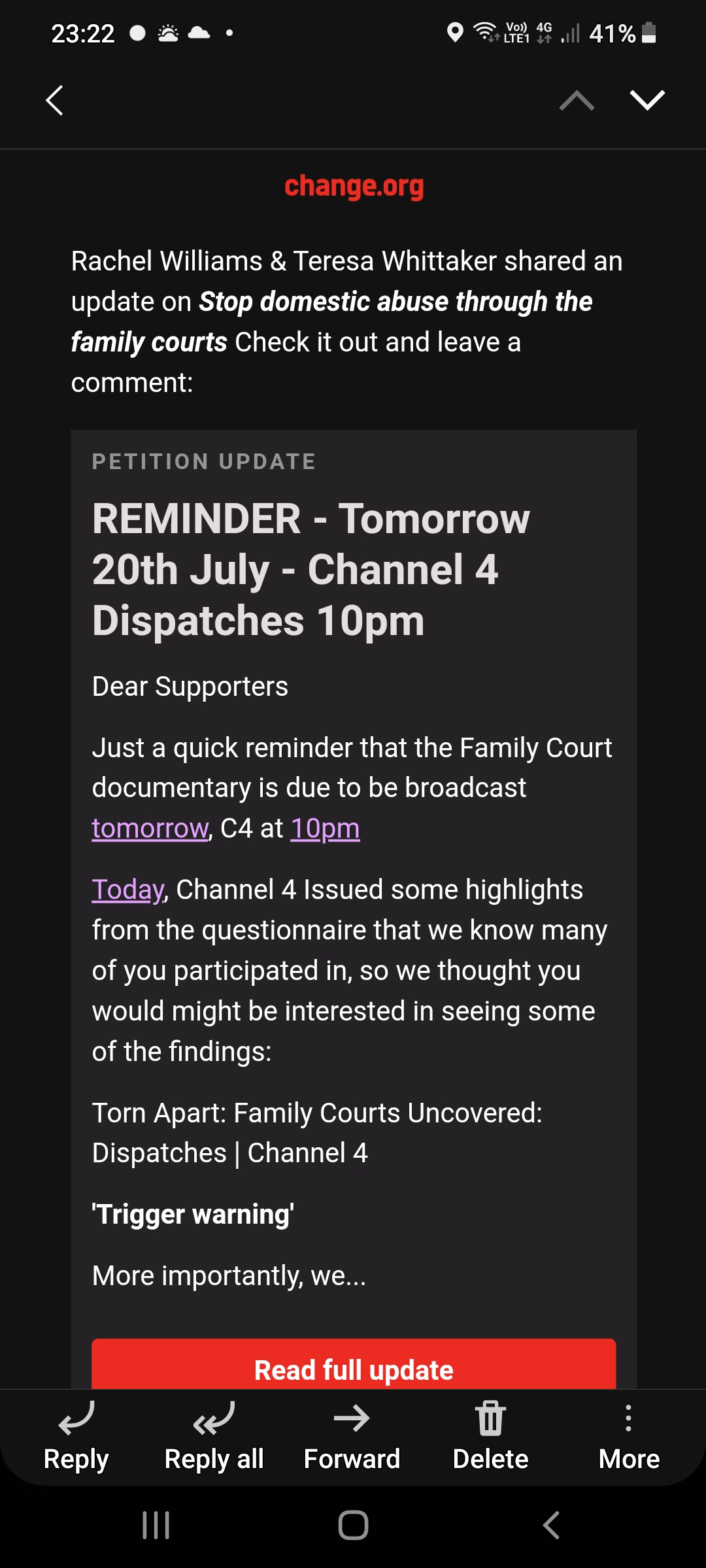 screenshot of a reminder for a channel 4 dispatches programme on family courts which will be shown at 10pm on 20 July 2021