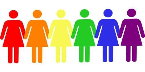 Row of multicoloured woman stick figures