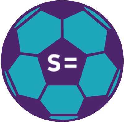 A football in Scope colours - purple and teal branded with the Scope logo.