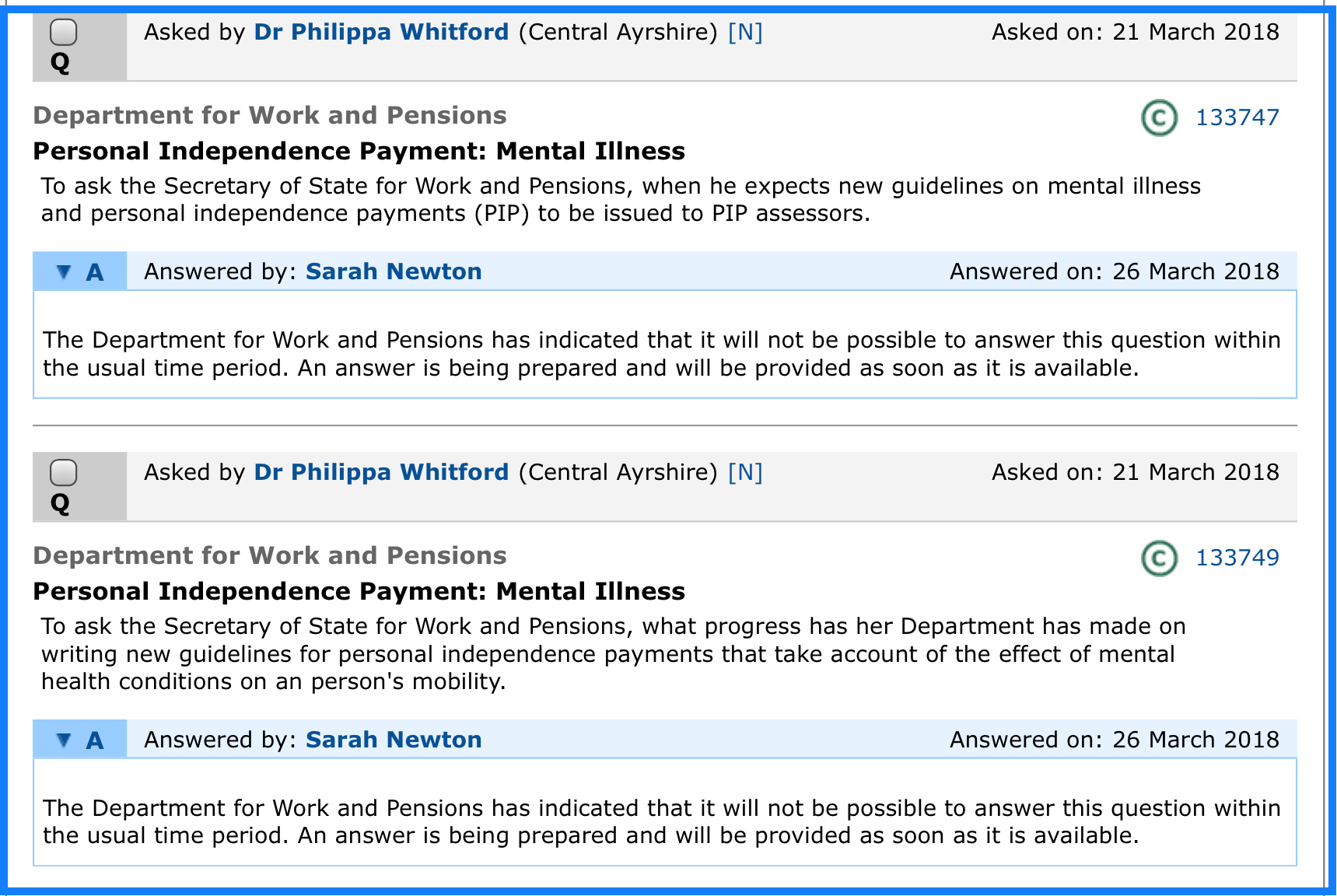 More of the same excuses after excuses from the DWP  And