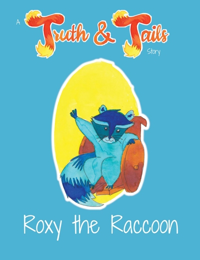 Cover of Roxy the Raccoon book - a blue cartoon raccoon in a wheelchair