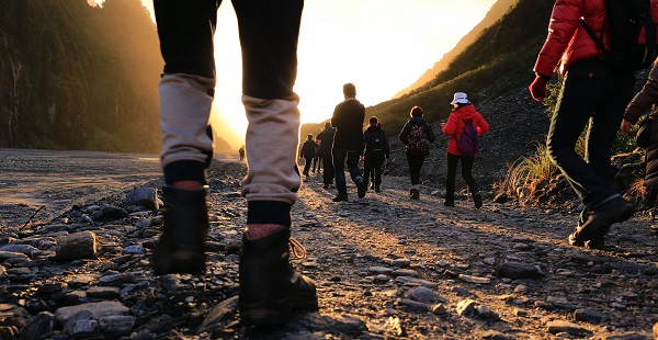 Ramblers walking on a country path
