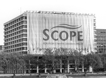 Scope HQ with banner which says Scope - formerly The Spastics Society