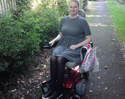 Shona in her powerchair
