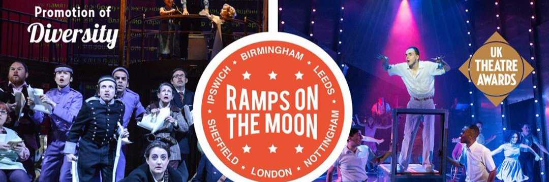 text grahpic featuring the words ramps on the moon and promotion of diversity against a background of on-stage action images