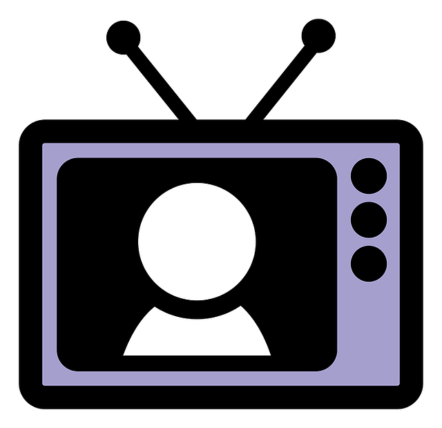 Clipart television with figure on screen