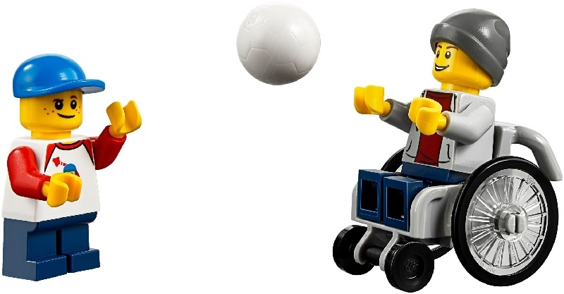 Two LEGO figures - one in a wheelchair - throwing a football to each other