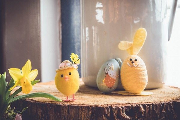 An easter display with teddy bunnies daffodils and eggs