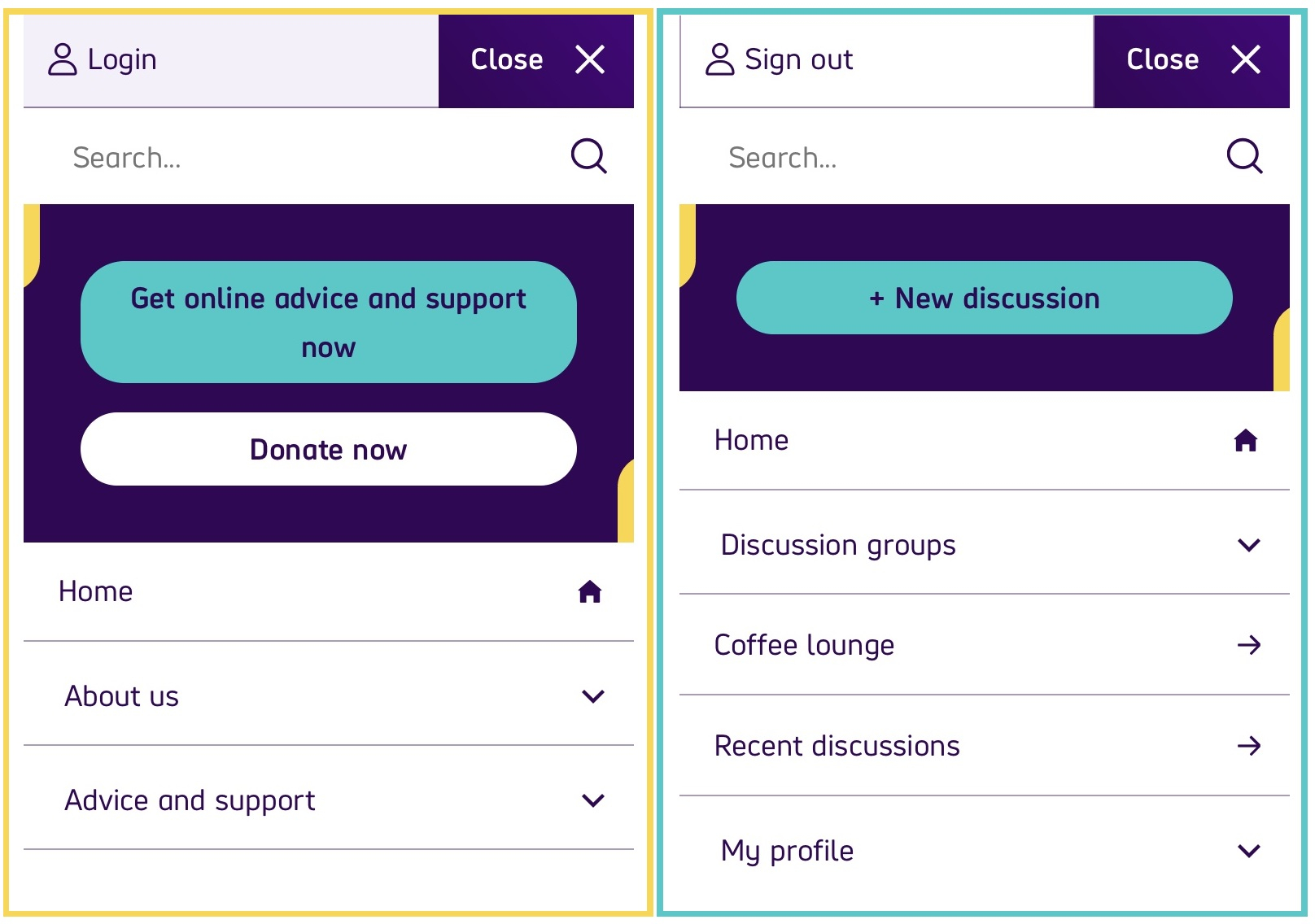 An image showing changes to the community mobile navigation menu
