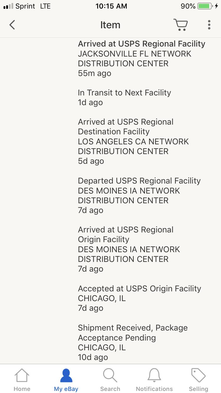 Arrived At Usps Regional Destination Facility